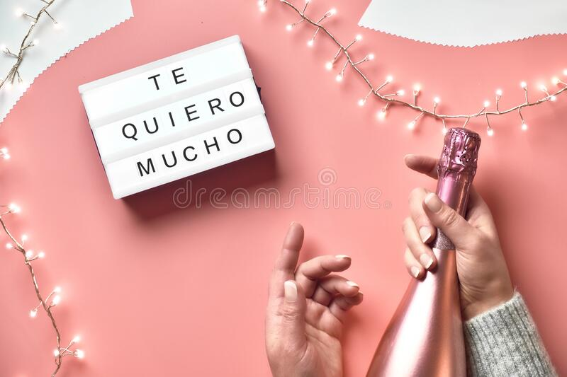 Valentine top view on pink background. Light garland, woman hands with metallic pink champagne bottle. St. Valentine`s day. Valentine top view on pink background stock photography