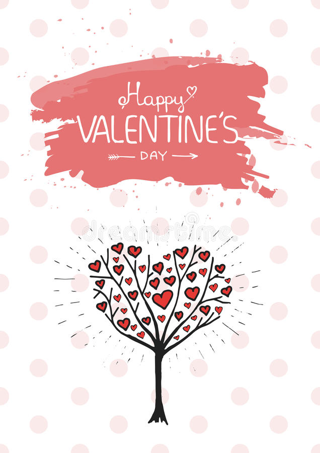 Valentine tree with hearts vector illustration