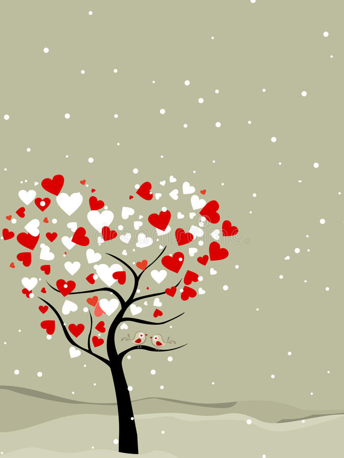 Download Valentine Tree With Hearts & Love Birds Stock Image - Image: 22854681