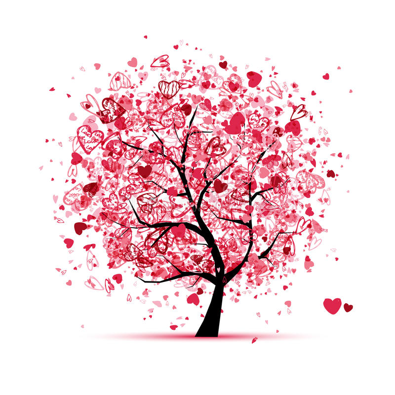 Download Valentine Tree With Hearts For Your Design Stock Vector - Image: 23943530