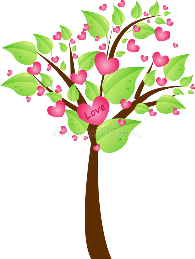 Download Valentine Tree With Leaves And Hearts Stock Vector - Image: 7705502