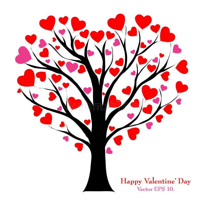 Valentine Tree With Love Heart, Vector Illustratio Stock ...