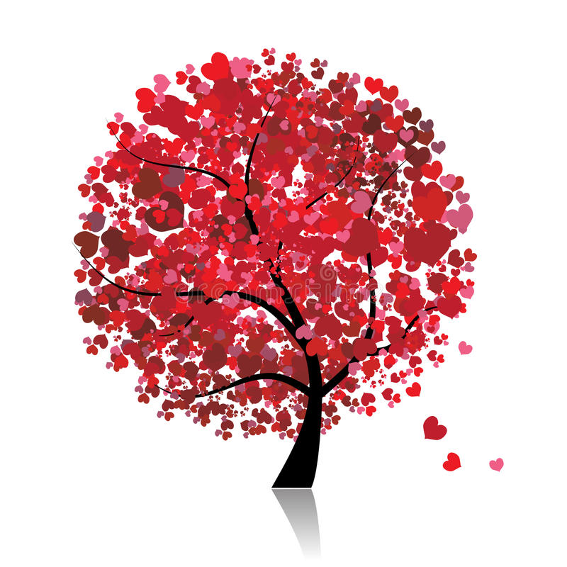 Valentine Tree, Love, Leaf From Hearts Stock Photo