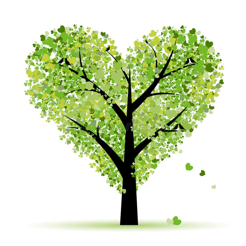 Valentine tree, love, leaf from hearts stock illustration
