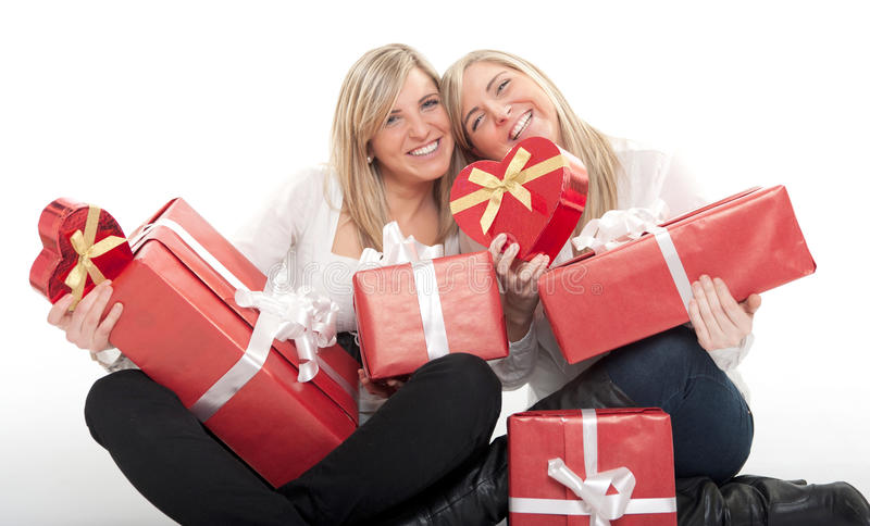Download Valentine for twin girls stock image. Image of surprise - 33912783