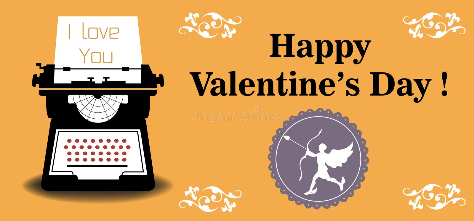 Valentine typing machine royalty free stock images