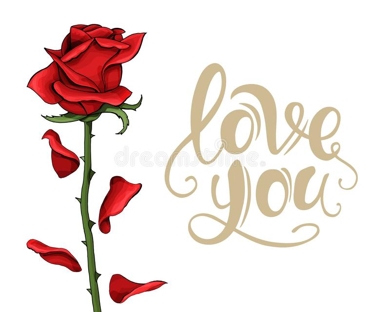 Valentine-van het de prentbriefkaarmalplaatje van de dagliefde enige nam rood bloem met het van letters voorzien toe vector illustratie