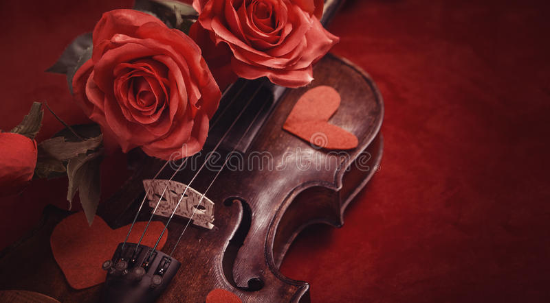 Valentine violin with red roses stock photography