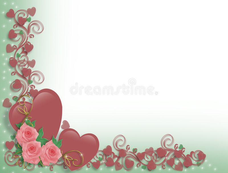 Download Valentine Or Wedding Hearts Border Stock Illustration