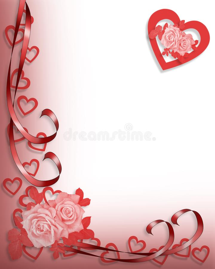 Valentine or wedding invitation border stock illustration for 3d rose wedding invitations