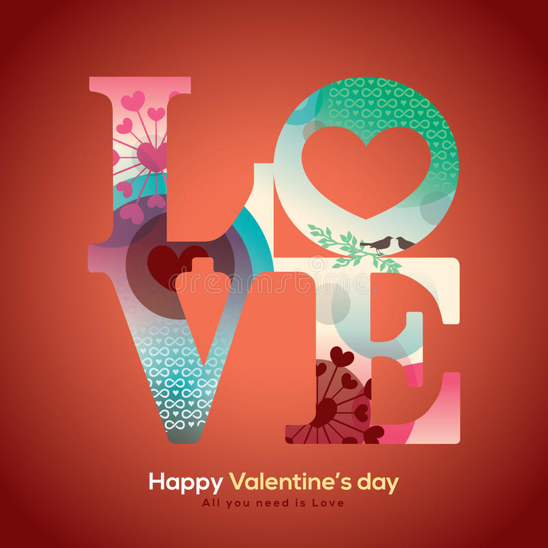 Valentine and wedding LOVE word with collage graphic. Illustration royalty free illustration