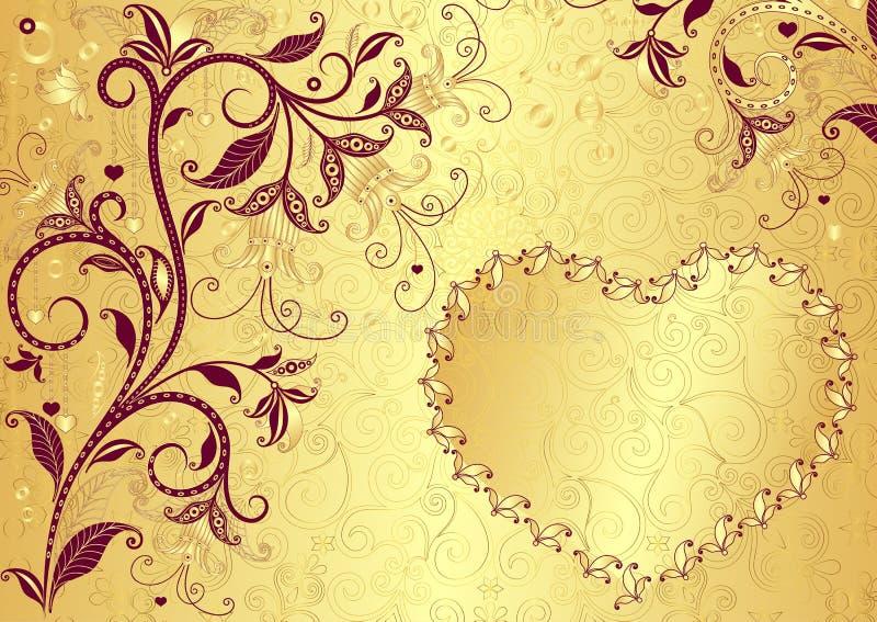 Valentine złocista rama ilustracja wektor