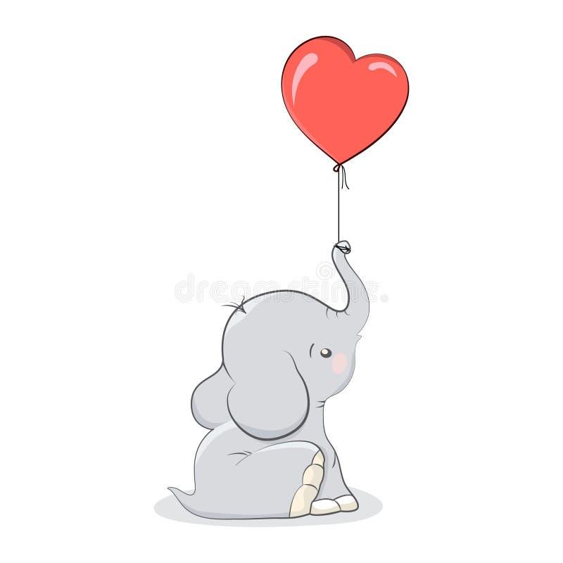 Valentinelefant med hjärta royaltyfri illustrationer