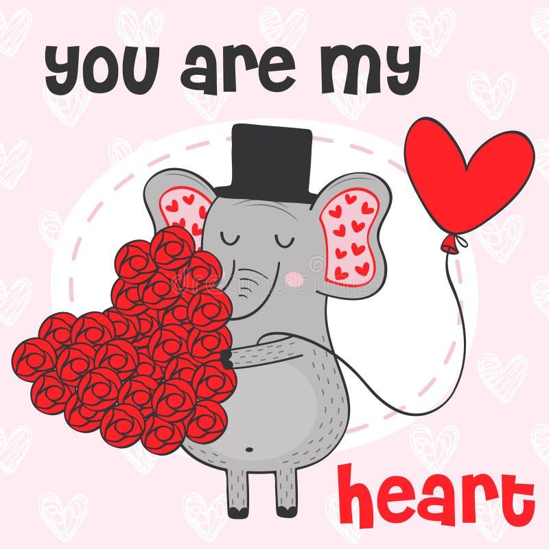 Valentinelefant med hjärta av blommor royaltyfri illustrationer