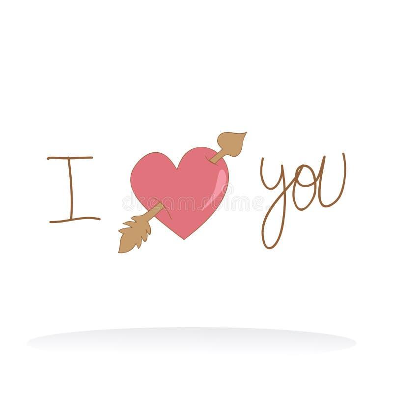 Valentinen älskar jag dig stock illustrationer