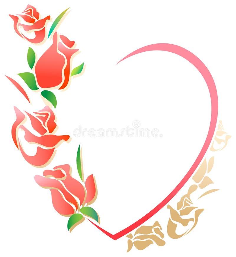 Valentinen inramar stock illustrationer