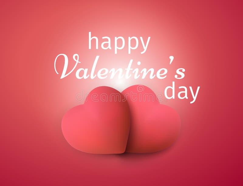 valentines дня знамени счастливые Реалистическая предпосылка сердец 3D бесплатная иллюстрация