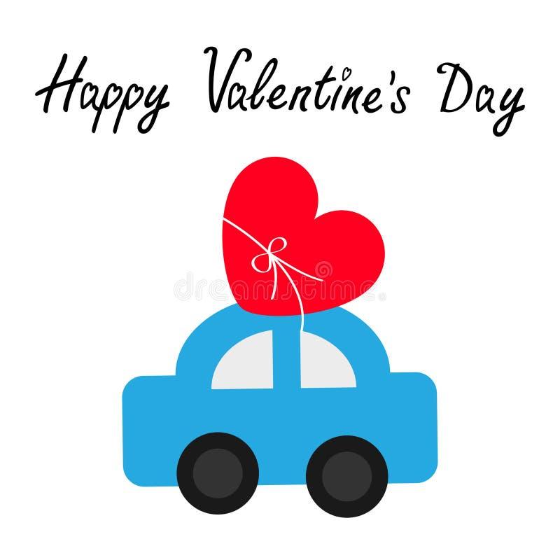 valentines дня счастливые Автомобиль игрушки нося красный значок формы сердца любов со смычком поставлять подарок Плоский дизайн  бесплатная иллюстрация