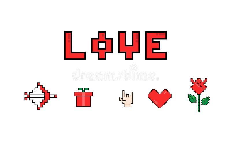 valentines дня счастливые 8 значков сообщения влюбленности пиксела бита бесплатная иллюстрация