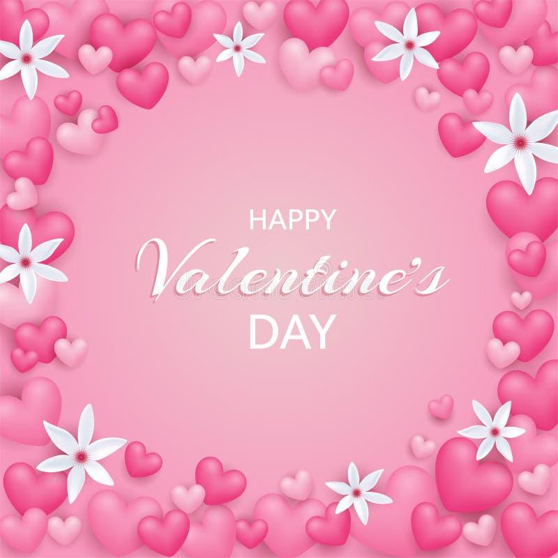 valentines дня счастливые Красивая и милая карта с сердцами и fl иллюстрация штока