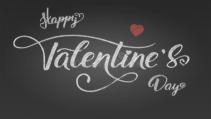 valentines дня счастливые Плакат приветствиям с дизайном текста Современная каллиграфия в винтажном стиле Нарисованный вручную ме иллюстрация вектора