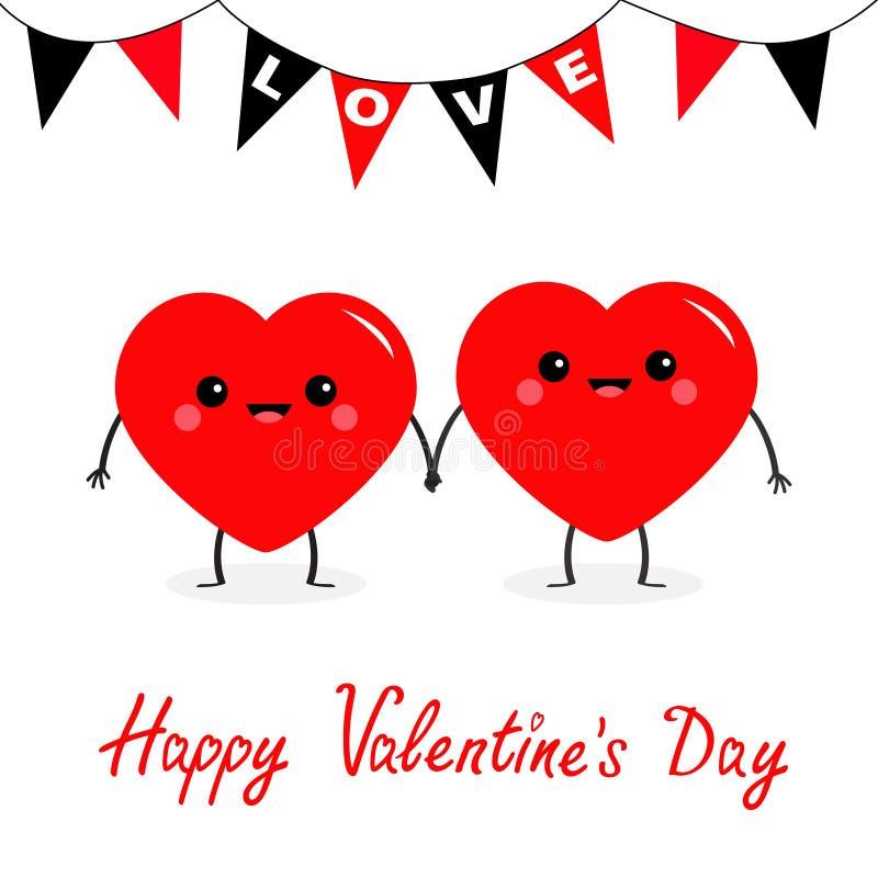 valentines дня счастливые 2 руки красных стороны пар семьи сердца установленных головных держа Bunting влюбленность флага Чарс ми бесплатная иллюстрация