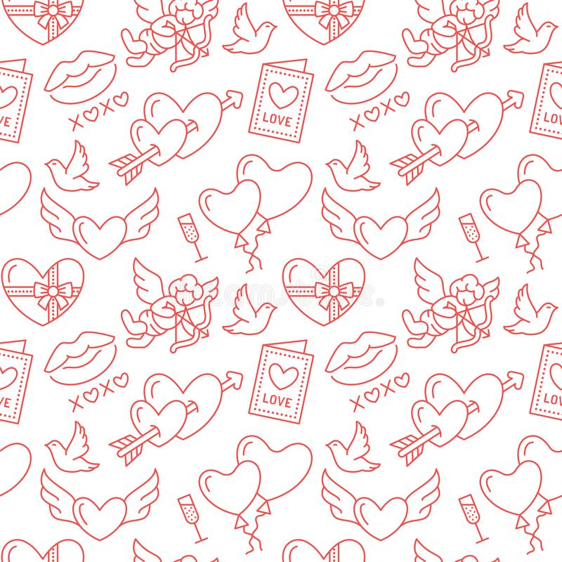 valentines картины дня безшовные Полюбите, романская плоская линия значки - сердца, шоколад, поцелуй, купидон, голуби, карточка в иллюстрация штока