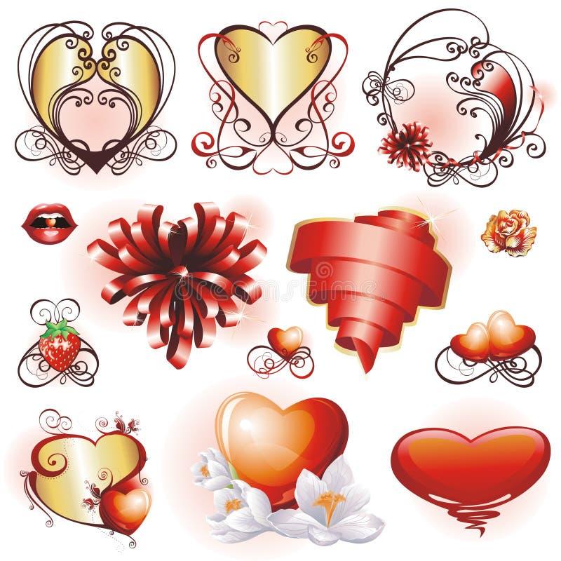 valentines комплекта элементов конструкции иллюстрация штока