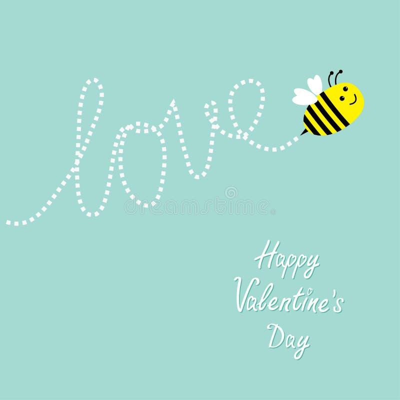 valentines дня счастливые Любовь летание пчелы милое Влюбленность слова штрихового пунктира в небе карточка 2007 приветствуя счас иллюстрация штока