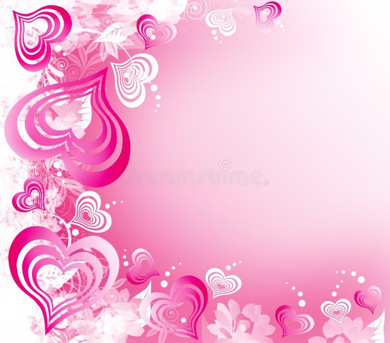 valentines сердец дня предпосылки розовые белые иллюстрация штока