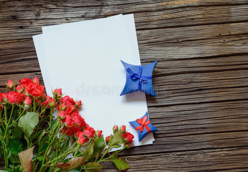 Valentines or anniversary love letter and roses stock image image