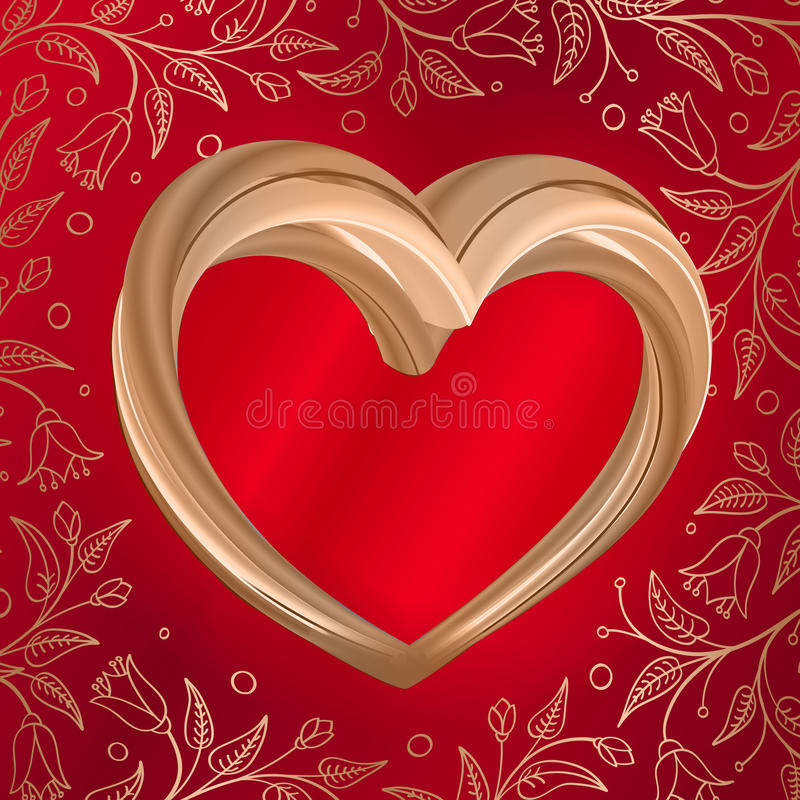 Valentines background abstract golden heart on red stock illustration