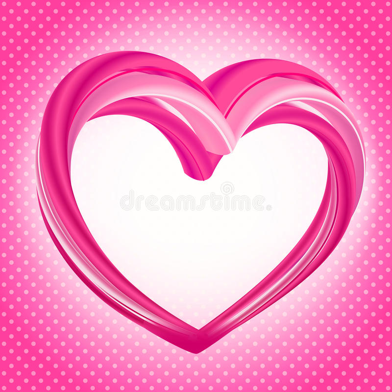 Valentines background, abstract pink heart shape. Valentines Day background, abstract pink heart shape on bright pink and white polka dot pattern. Vector royalty free illustration
