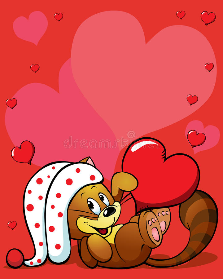 Download Valentines Background With Cute Cat Stock Vector - Image: 28793030