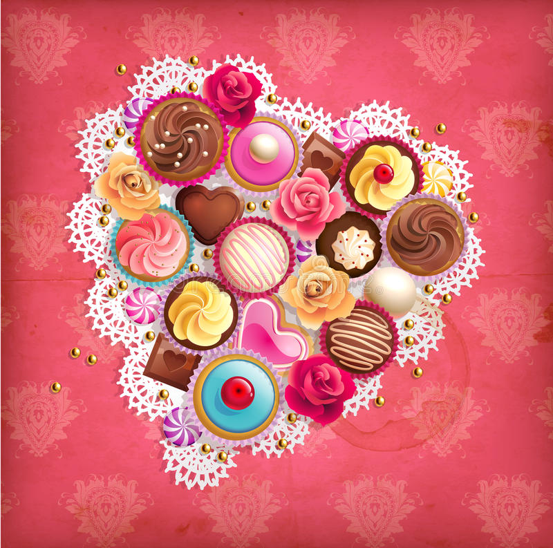 Download Valentines Background With Heart-shaped Napkin And Sweets. Stock Vector - Illustration: 28659359