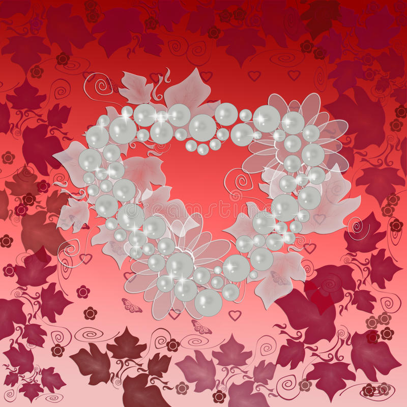 Valentines background. Red valentines background with heart and ornament royalty free illustration