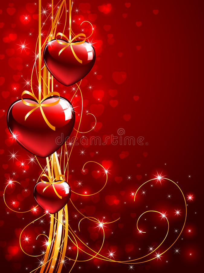 Download Valentines Background With Tree Red Hearts Stock Vector   Image:  23038137