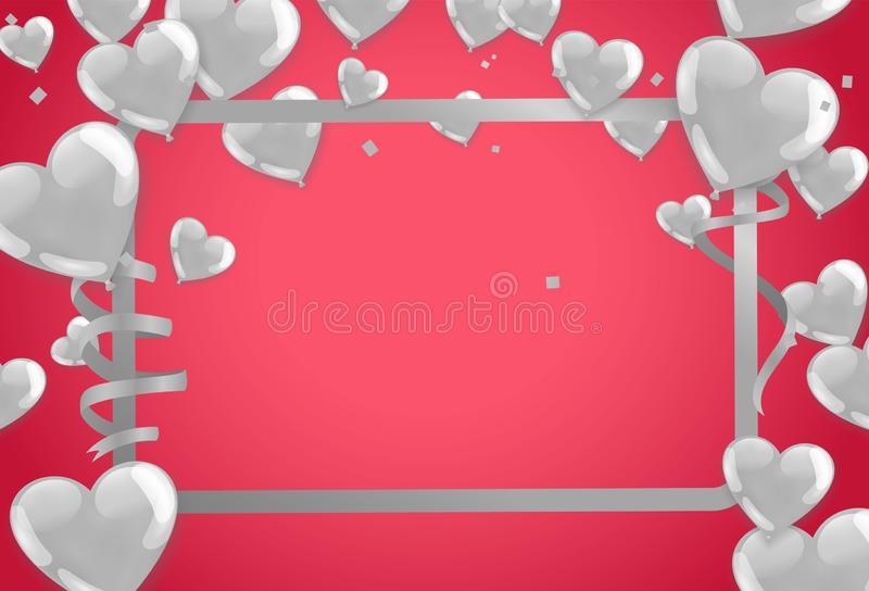 Valentines Background with white Hearts balloons. Greeting Card. Vector illustration Eps 10 royalty free illustration
