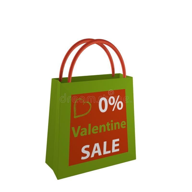Valentines bag in orange-green with the lettering Valentin Sale. 3d render stock illustration