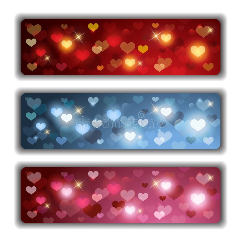 Valentines Banners with Colorful Shiny Hearts. Vector set composed of three Valentines banners with colorful shiny hearts vector illustration