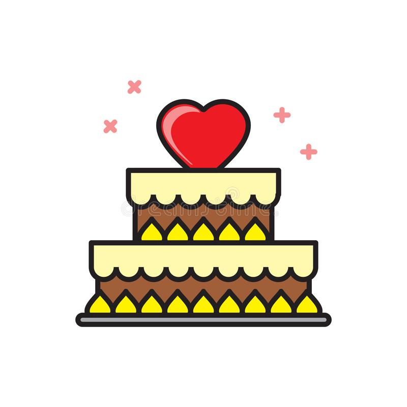 Valentines cake icon on white background for graphic and web design, Modern simple vector sign. Internet concept. Trendy symbol vector illustration