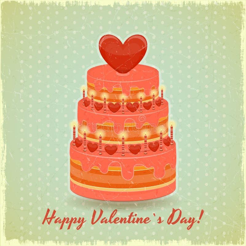 Download Valentines Cake On Vintage Background Stock Vector - Image: 28048139