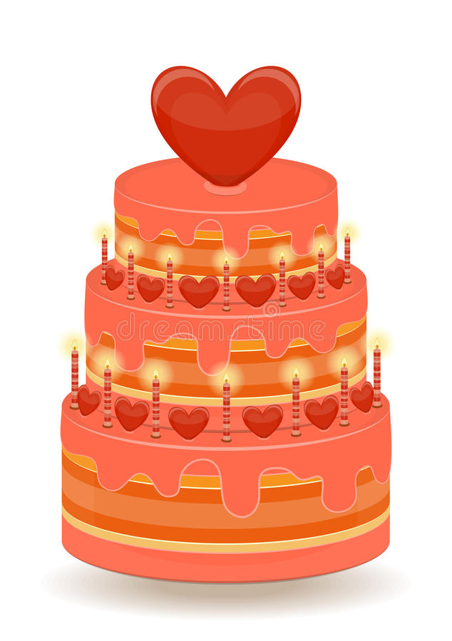 Valentines Cake on White Background stock illustration