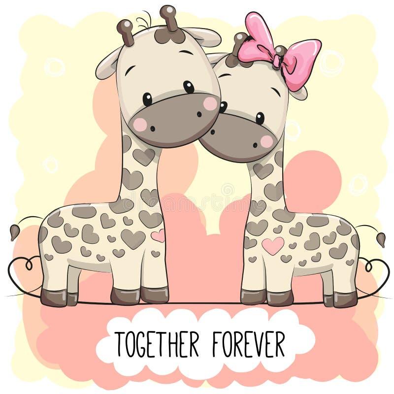 Cute Cartoon Giraffes boy and girl stock illustration