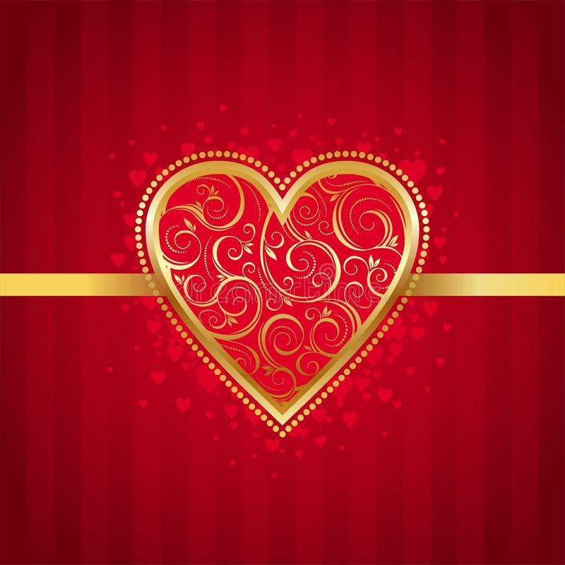 Valentines card with golden ornate heart royalty free illustration