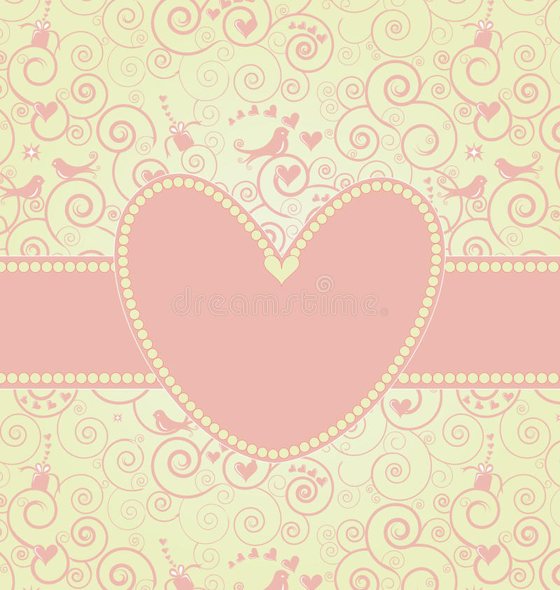 Valentines card in light pink. A sweet Valentine's Day Card with pink swirls and bird. Place for your text in the heart shaped frame stock illustration