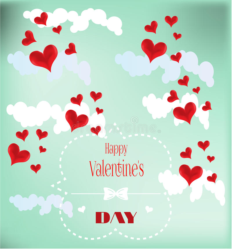 Valentines card with red hearts royalty free illustration