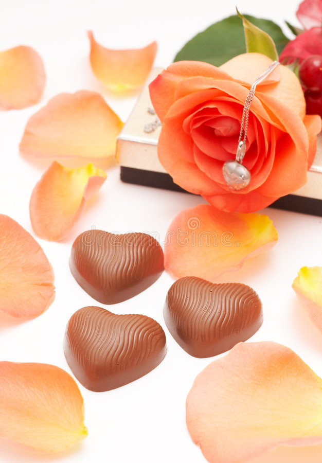 Valentines chocolates and roses royalty free stock photos