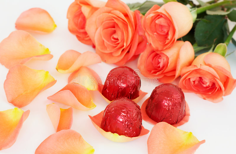 Valentines chocolates with roses stock image