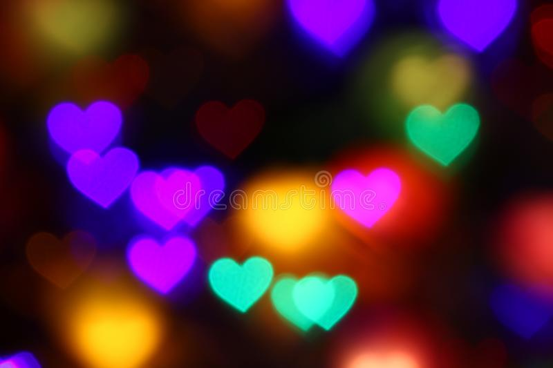 Download Valentines Colorful Heart Shaped Bokeh On Black Background Lighting For Decoration At Night